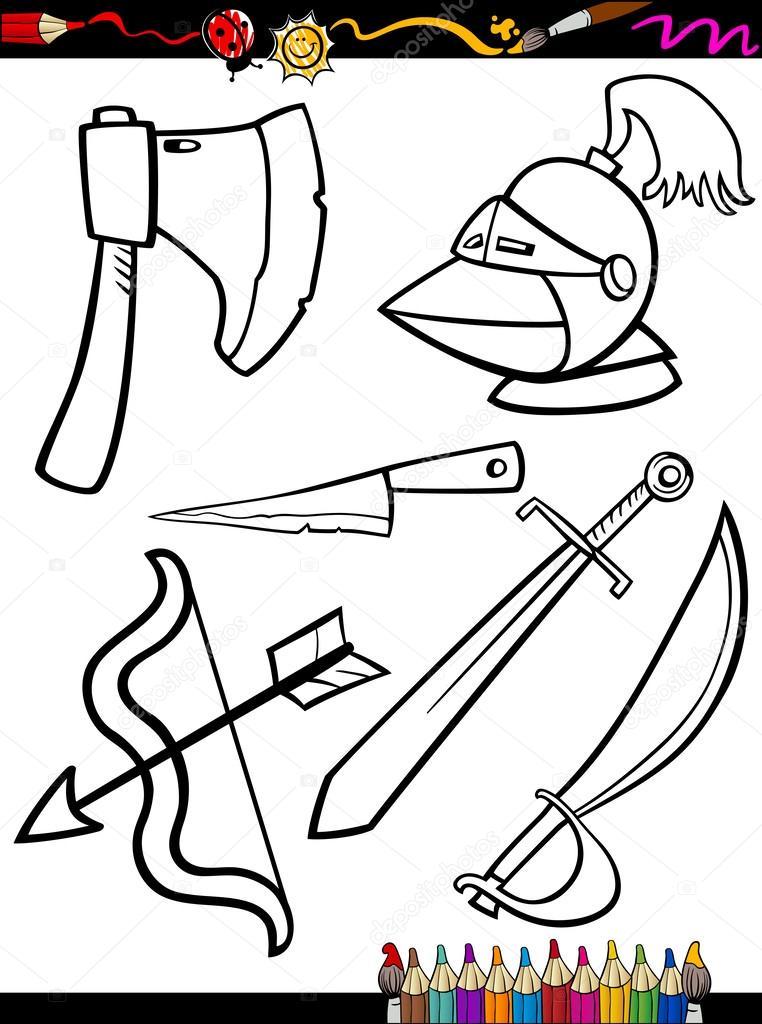 dibujos animados de armas objetos de página para colorear — Vector ...