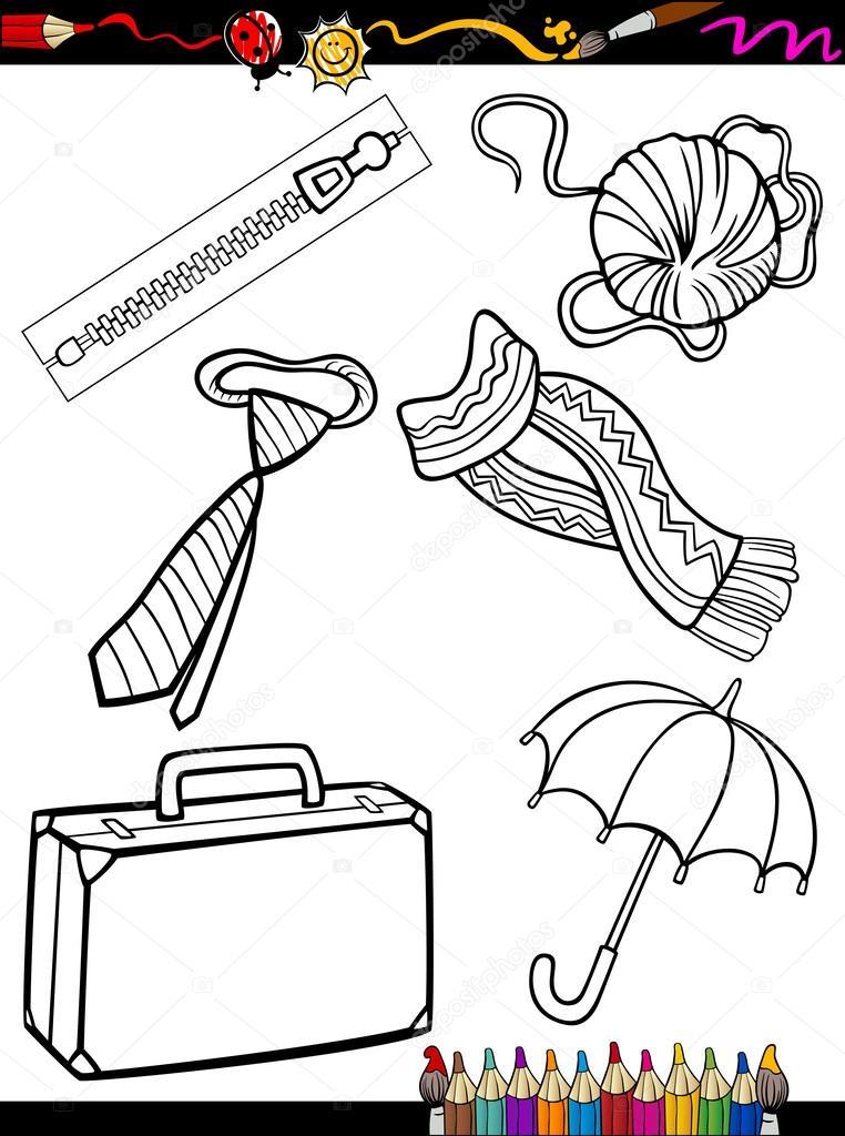 Karikatür Nesneler Sayfa Boyama Stok Vektör Izakowski 31154817