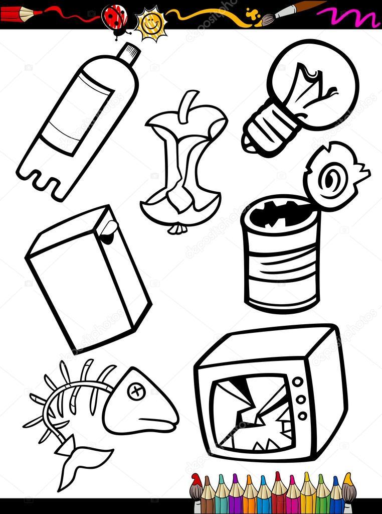 objetos de basura Página para colorear de dibujos animados — Vector ...