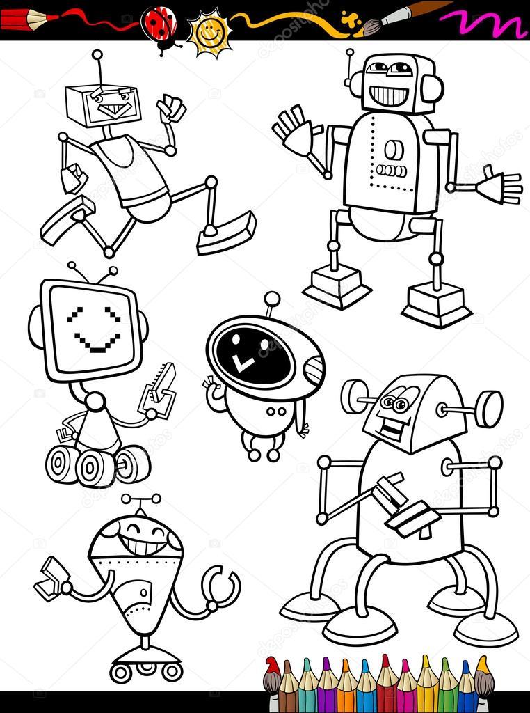 Robot dei cartoni animati insieme per libro da colorare