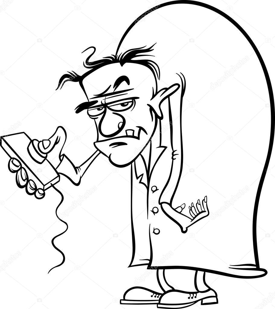 dibujos animados científico malvado para colorear — Vector de stock ...