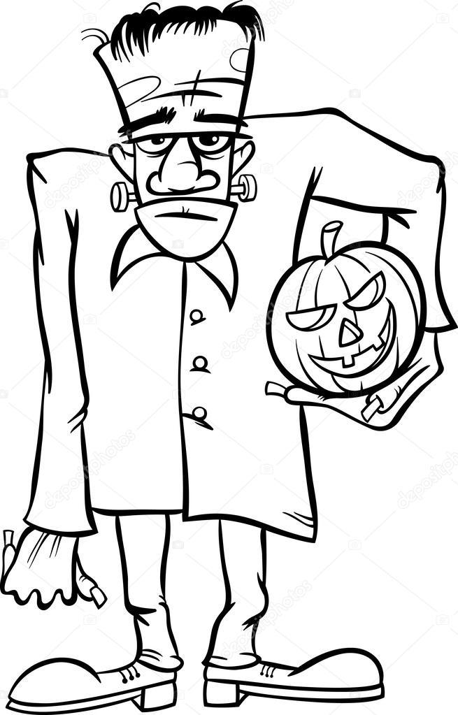dibujos animados de Frankenstein para colorear libro — Vector de ...