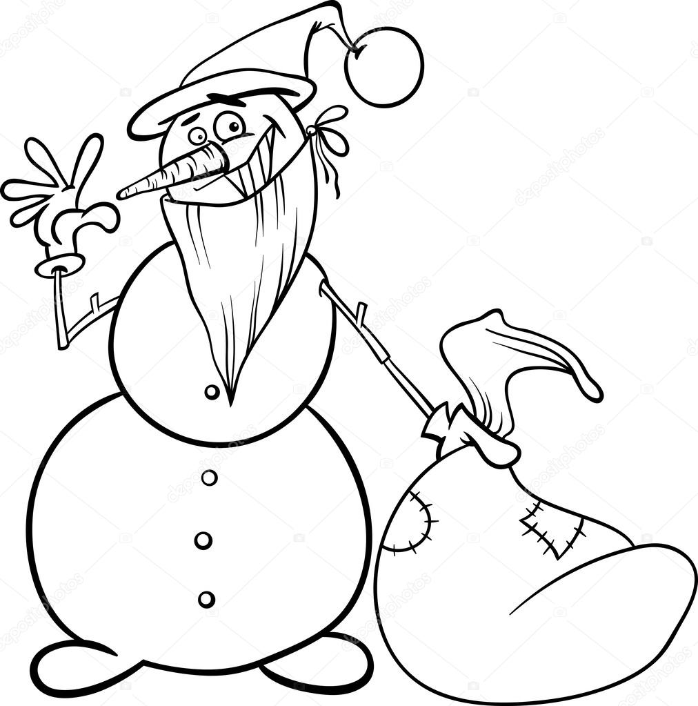 Yılbaşı Kardan Adam Boyama Kitabı Için Stok Vektör Izakowski