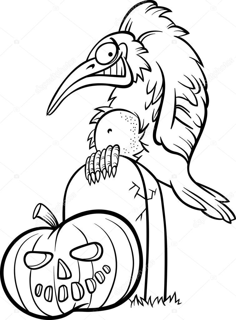 abóbora de halloween com desenhos animados de corvo vetores de