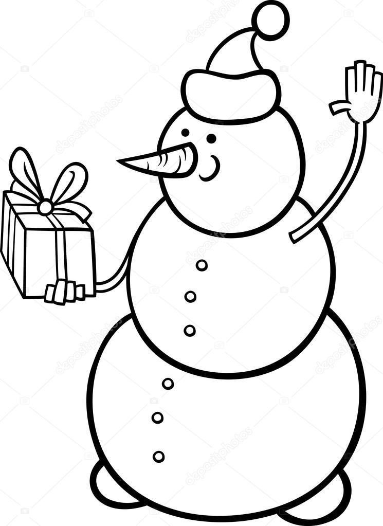 Yılbaşı Kardan Adam Boyama Sayfası Stockvector Izakowski 32007823