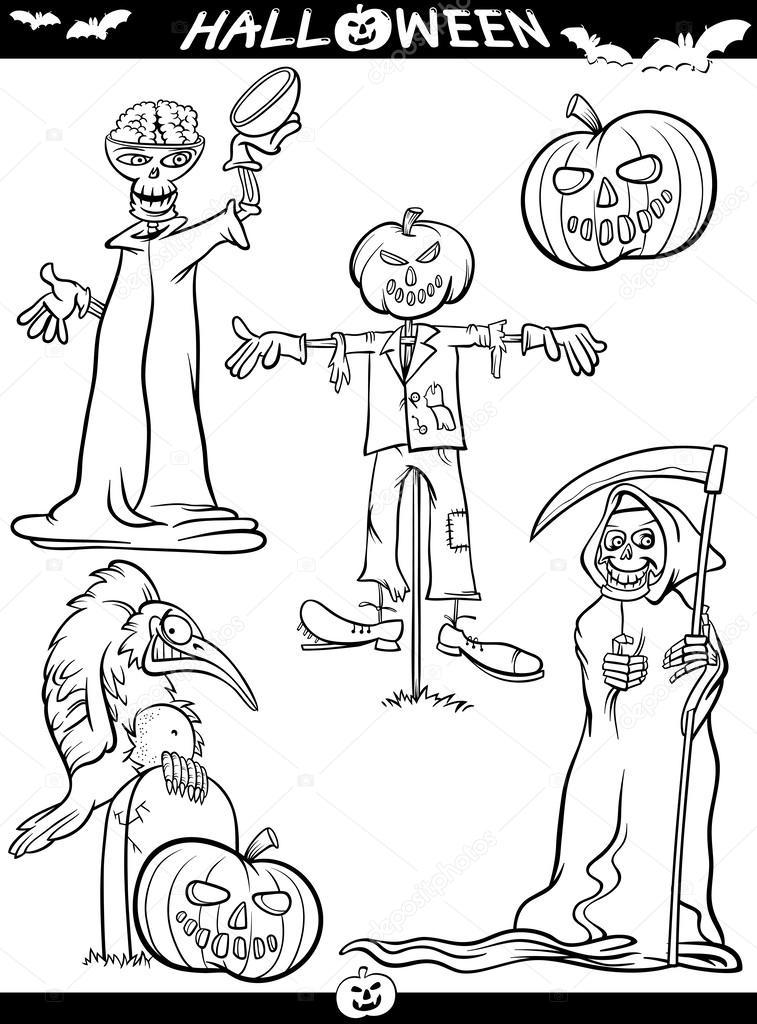 temas de dibujos animados de Halloween para colorear libro — Vector ...