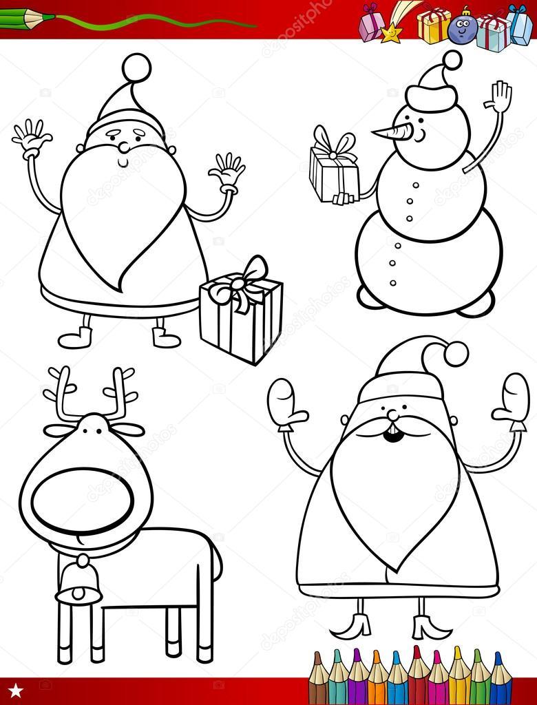 temas de Navidad para colorear página de dibujos animados — Vector ...