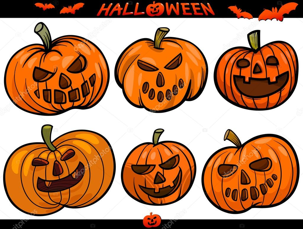 Halloween karikatura motivy sada stock vektor - Disenos de calabazas de halloween ...