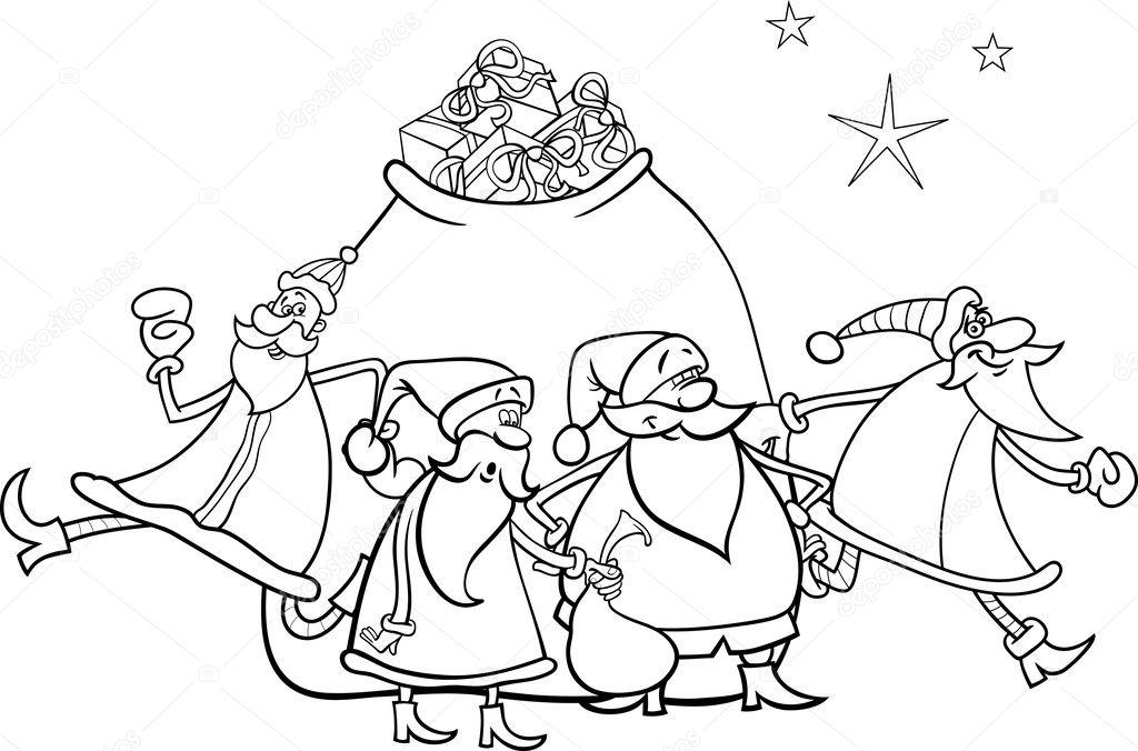 Pagina Para Colorear De Navidad Santa Claus Archivo Imagenes