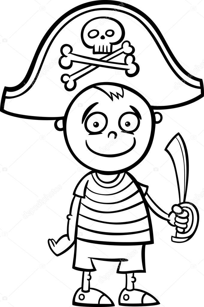 niño con disfraz de pirata para colorear página — Archivo Imágenes ...