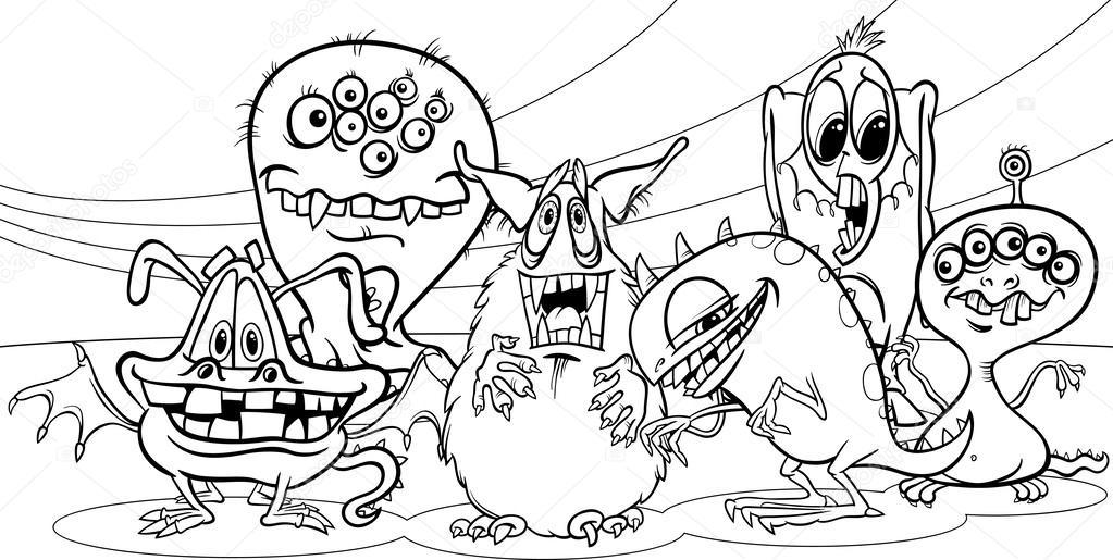 Página para colorear de dibujos animados monstruos grupo — Archivo ...