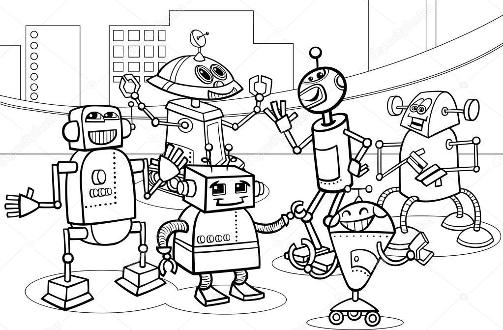 Kleurplaten Robots.Robots Groep Cartoon Kleurplaten Pagina Stockvector C Izakowski