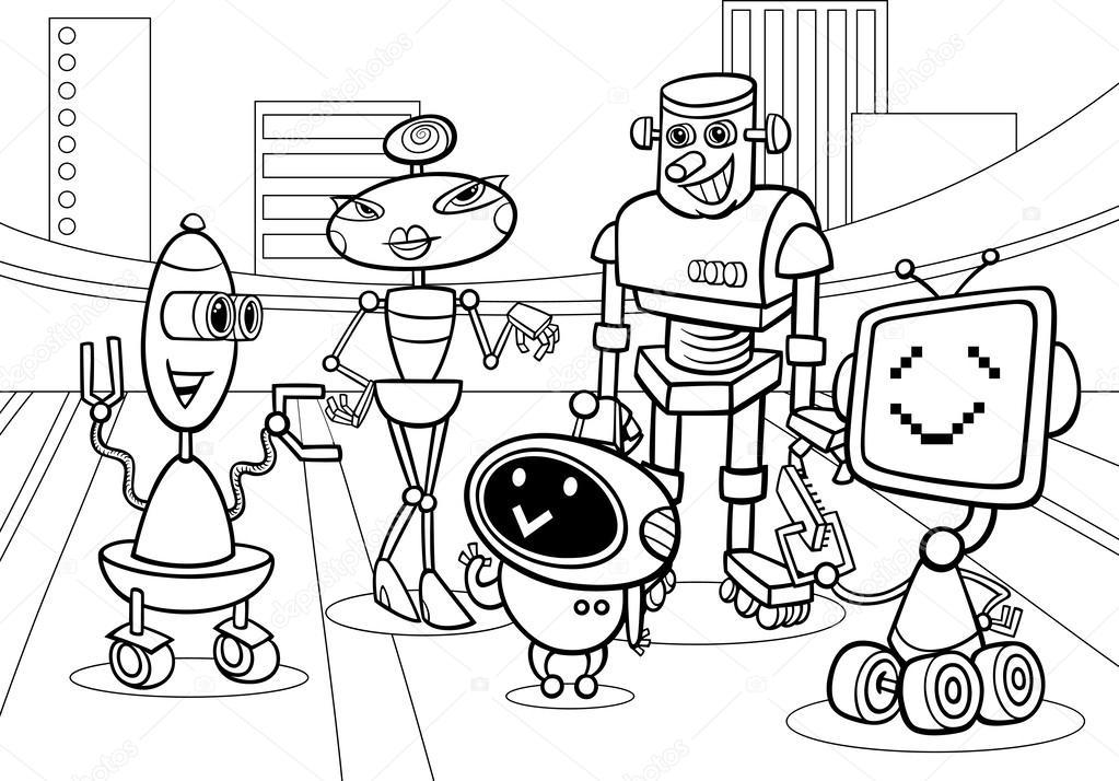 Dibujos: dibujo de robot para colorear | los robots del grupo