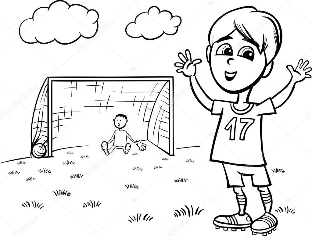 boy playing soccer coloring page — Stock Vector © izakowski #33123349