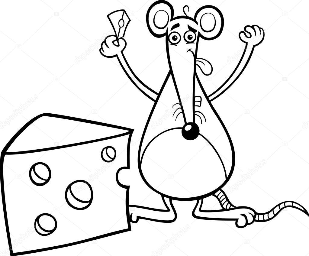 Maus mit Käse Färbung Seite — Stockvektor © izakowski #33123841