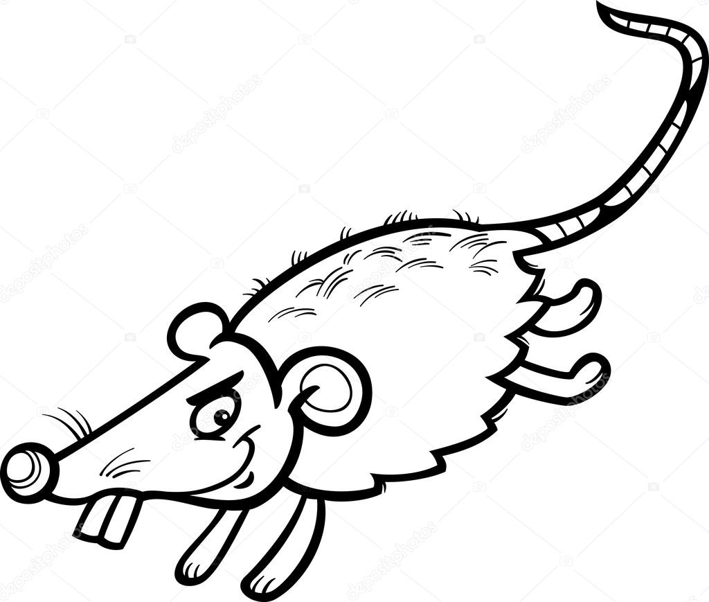 dibujos animados del ratón o la rata Página para colorear — Archivo ...