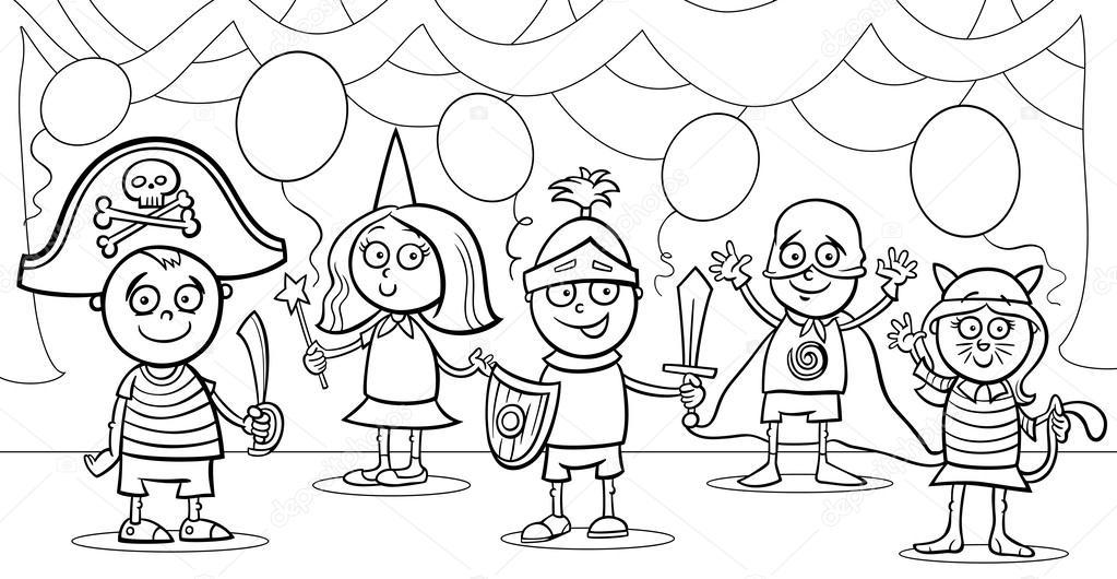 Children At Fancy Ball Coloring Page Stock Vector C Izakowski