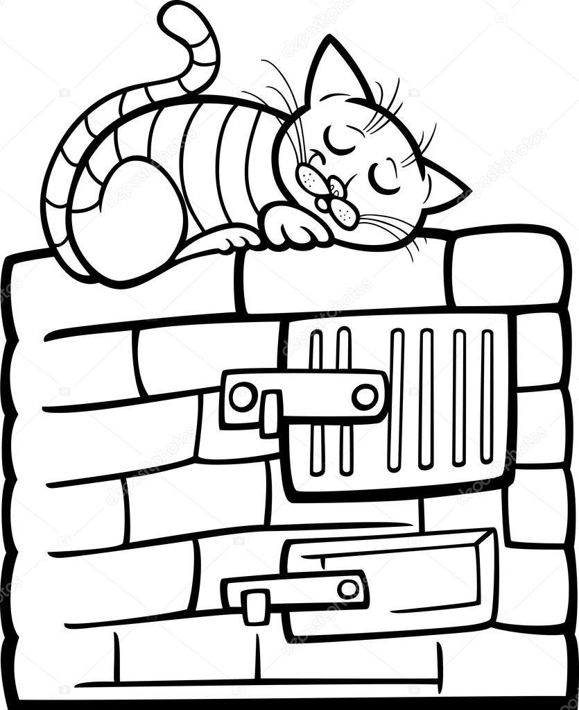 cat on stove cartoon coloring page — Stock Vector © izakowski #33580225