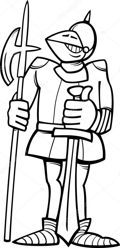 Black And White Cartoon Illustration Of Funny Knight In Armor With Sword Halberd For Coloring Book Vector By Izakowski