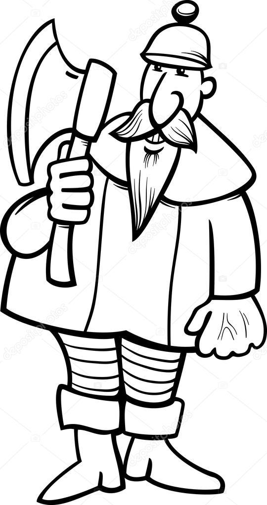 caballero con dibujos animados hacha Página para colorear — Archivo ...