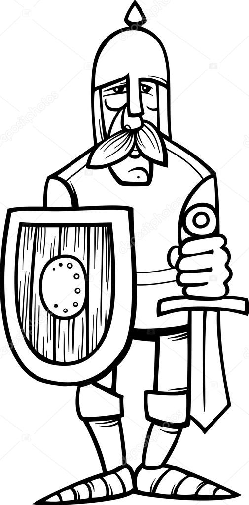 knight in armor cartoon coloring page — Stock Vector © izakowski ...