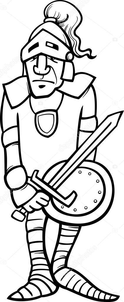 Kleurplaten Ridder Schilden.Ridder Met Zwaard Cartoon Kleurplaten Pagina Stockvector