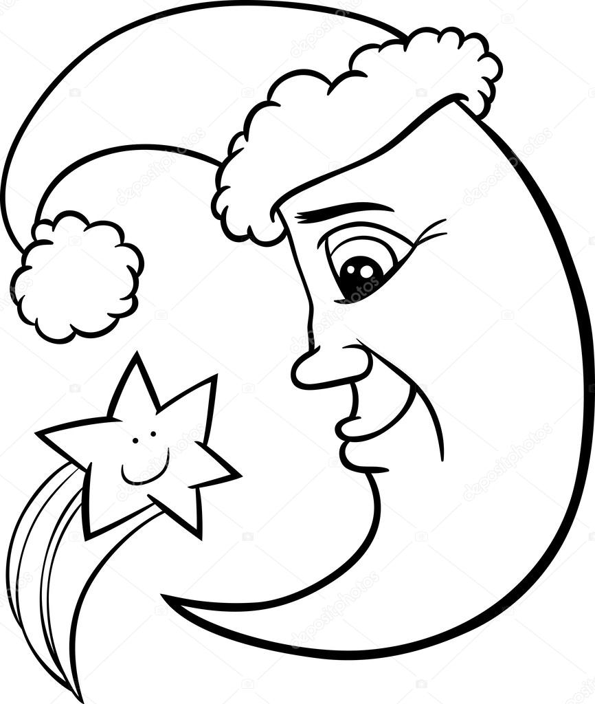 Ay Ve Yıldız Noel Sayfa Boyama Stok Vektör Izakowski 34057997