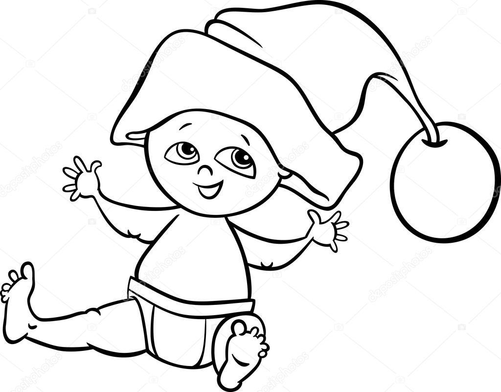 baby jongen santa kleurplaten pagina stockvector