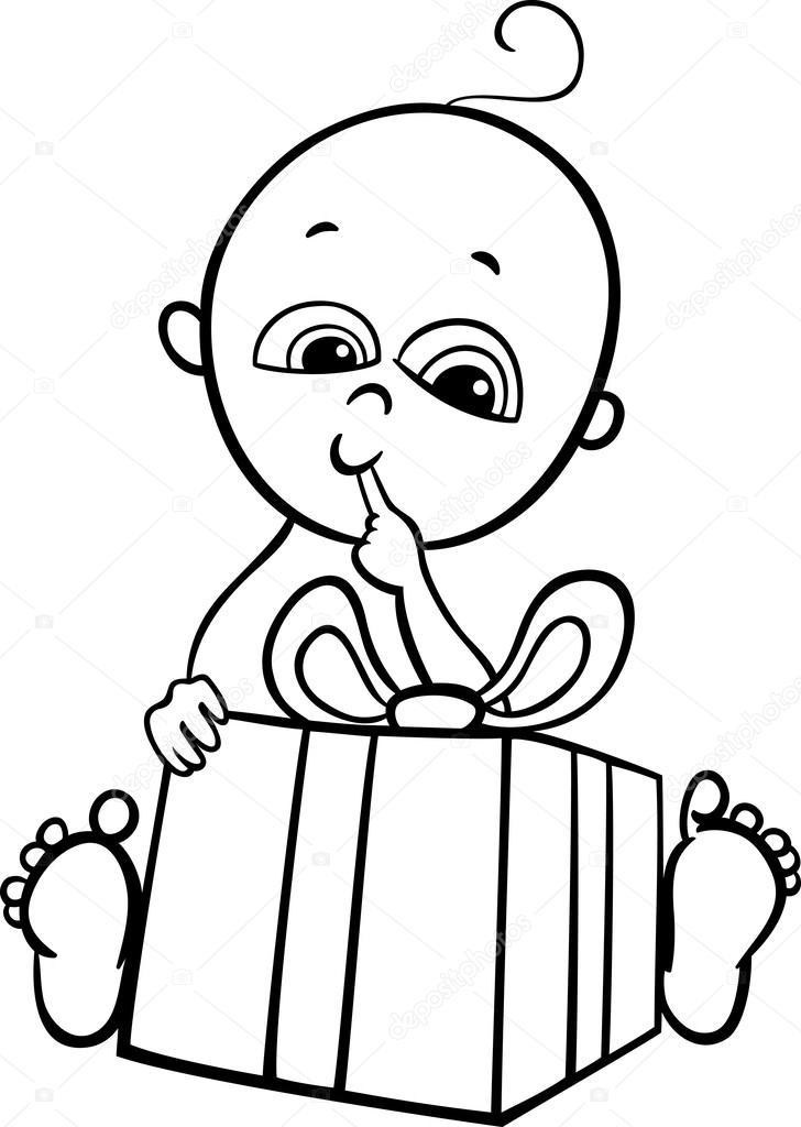 niño con regalos para colorear libro — Vector de stock © izakowski ...