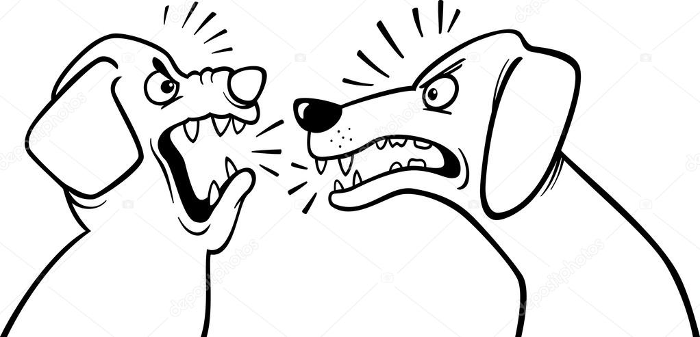 angry barking dogs coloring page — Stock Vector © izakowski #34548837