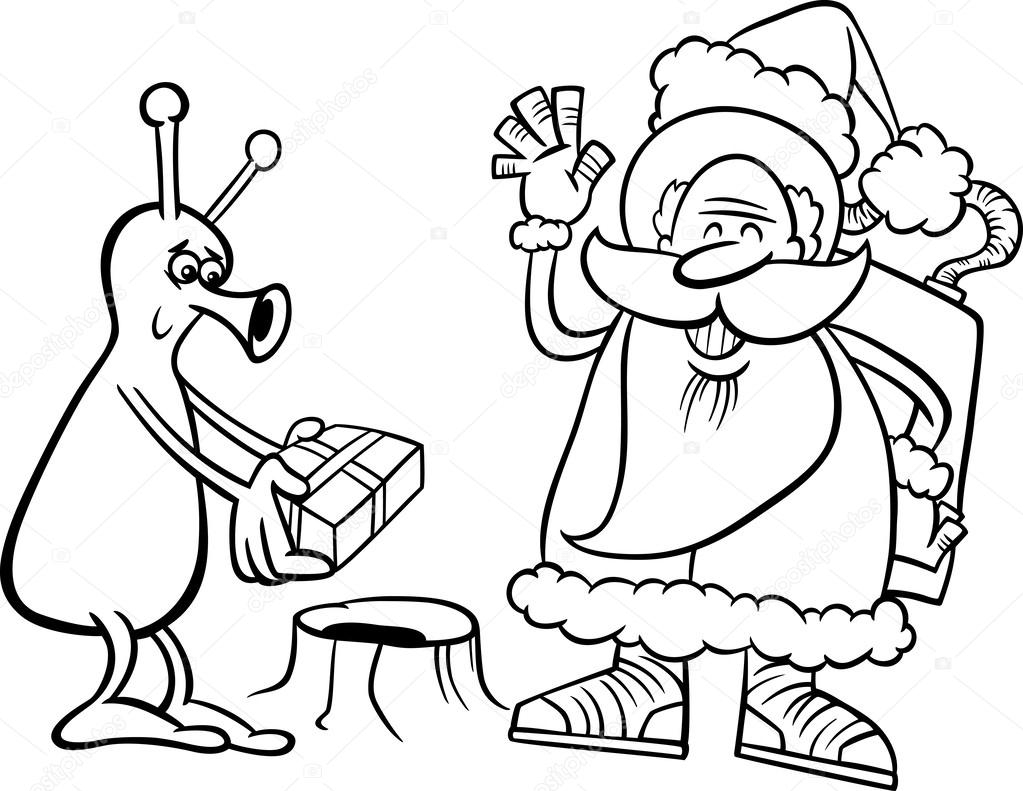 black and white cartoon illustration of santa claus in space giving christmas present to funny alien for coloring book vector by izakowski