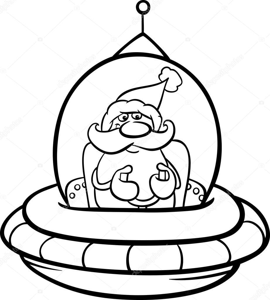 Noel Baba Boyama Sayfası Uzay Gemisi Stok Vektör Izakowski 34751759