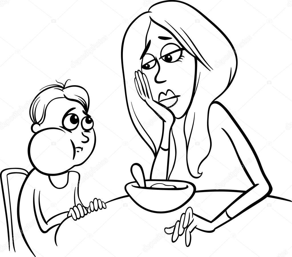 Cartone animato povero mangiatore di bianco e nero