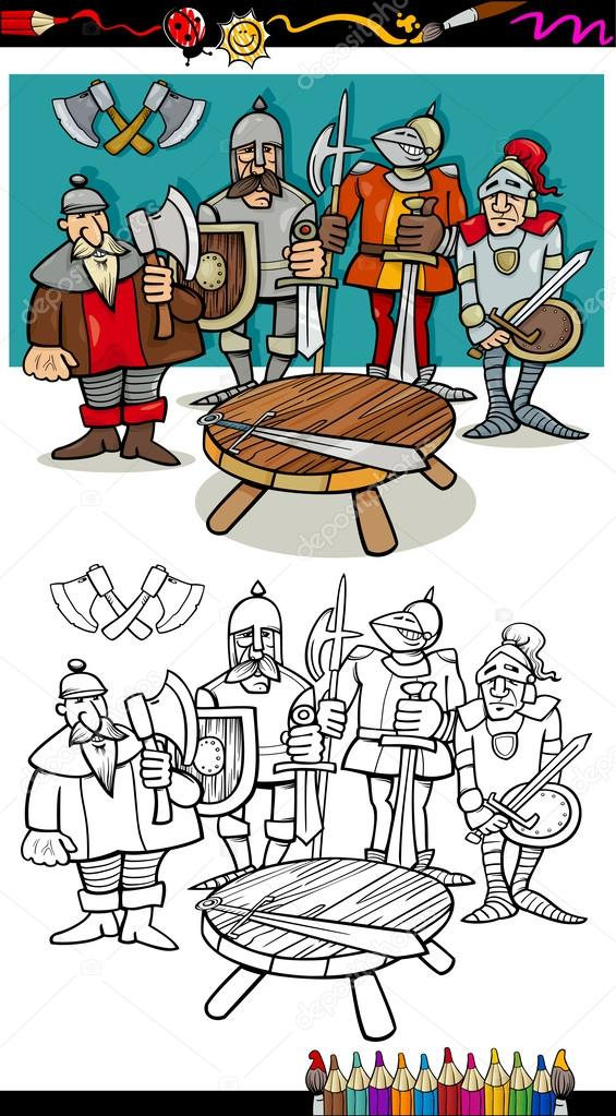 Chevaliers de la table ronde coloriage image vectorielle izakowski 34876817 - Dessin anime chevalier de la table ronde ...