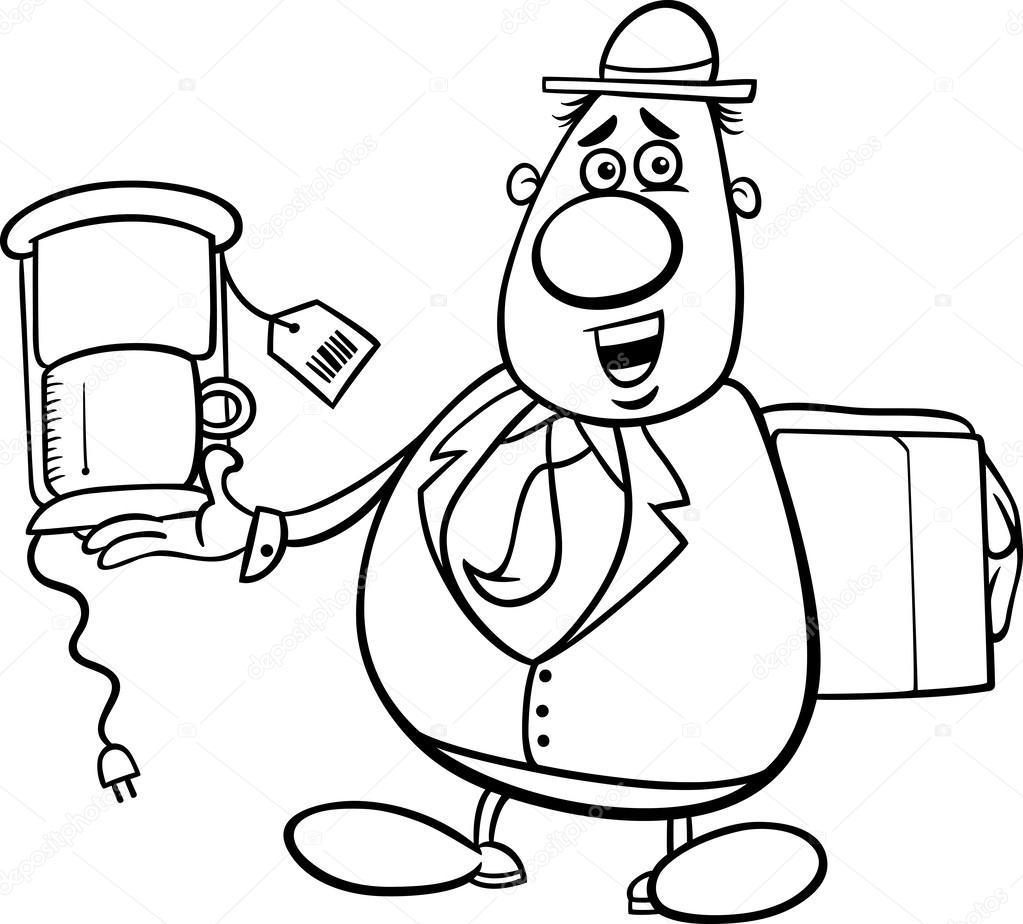 salesman cartoon for coloring book — Stock Vector © izakowski #34876867