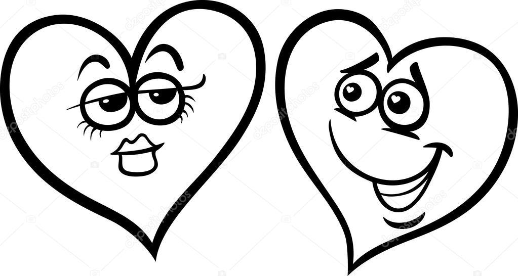 Kleurplaten Een Hart.Hart In Liefde Cartoon Kleurplaten Pagina Stockvector C Izakowski