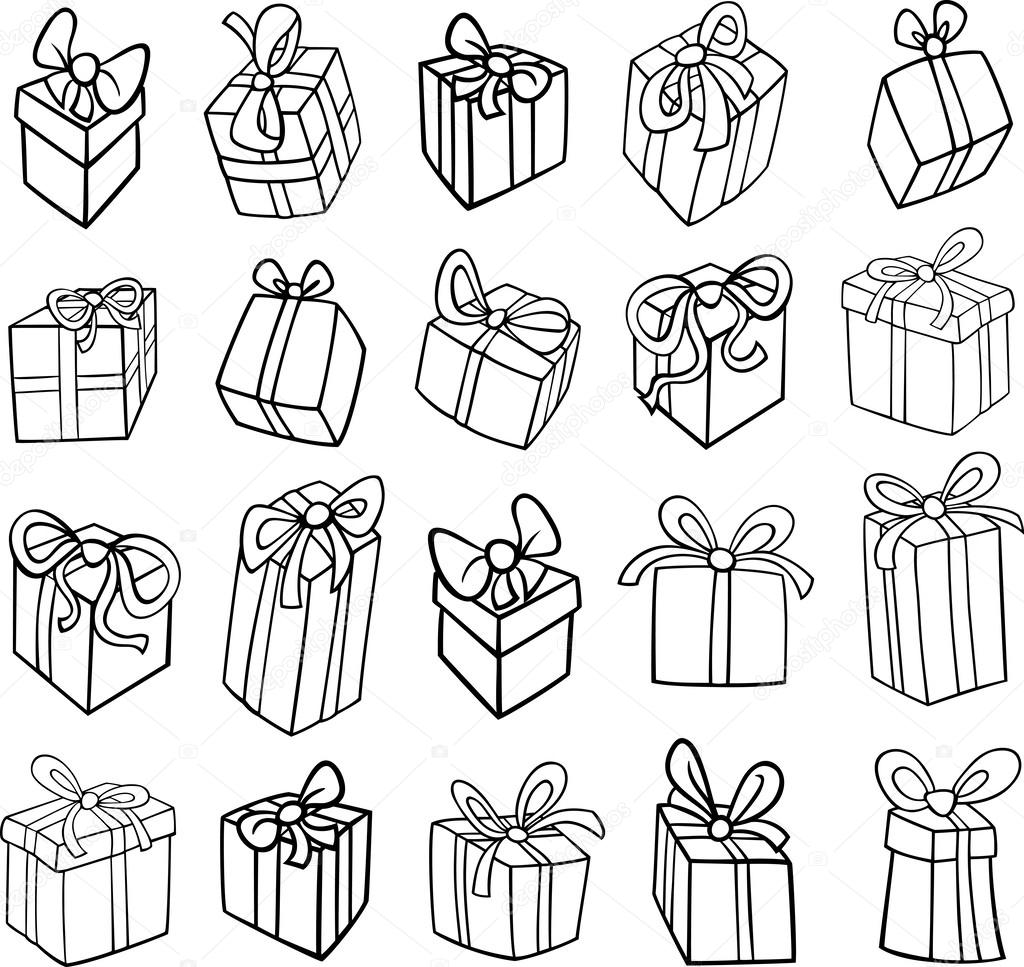 christmas or birthday gifts coloring page u2014 stock vector