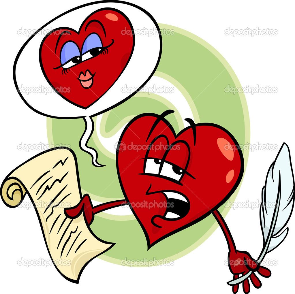 Corazón Lectura Poema De Amor Dibujos Animados Archivo