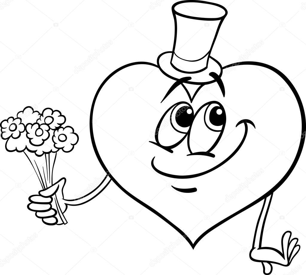 corazón de San Valentín con flores para colorear página — Vector de ...