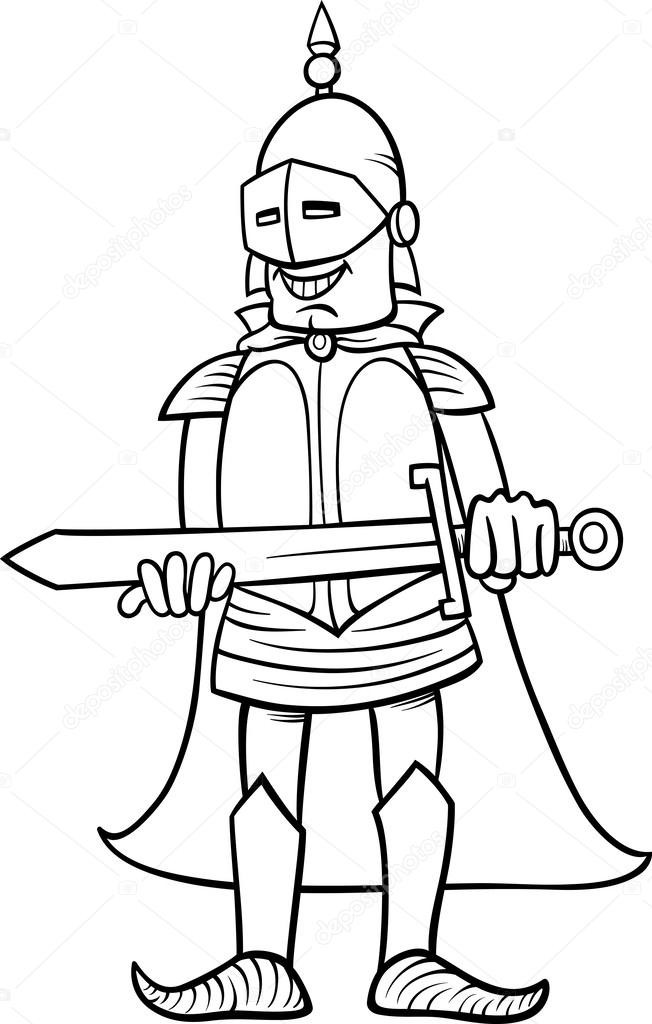 Black And White Cartoon Illustration Of Knight In Armor With Sword For Coloring Book Vector By Izakowski