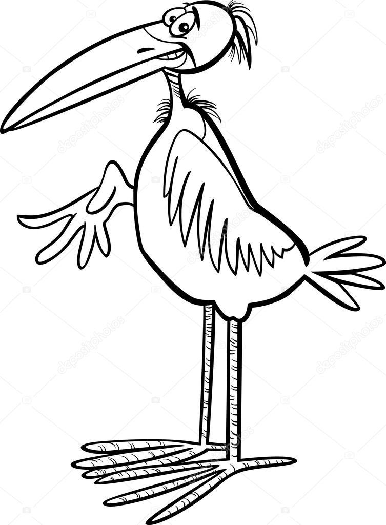 Marabou Kuş çizgi Film Boyama Sayfası Stok Vektör Izakowski