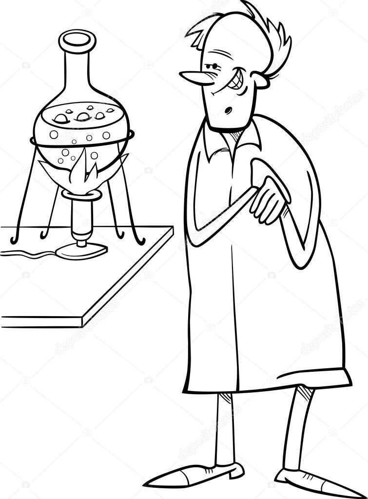 científico en el laboratorio de página para colorear — Vector de ...