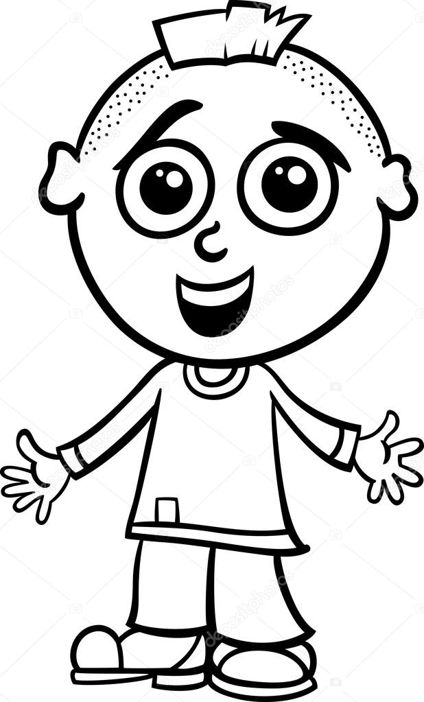 Black And White Cartoon Illustration Of Cute Happy Little Boy For Coloring Book Vector By Izakowski