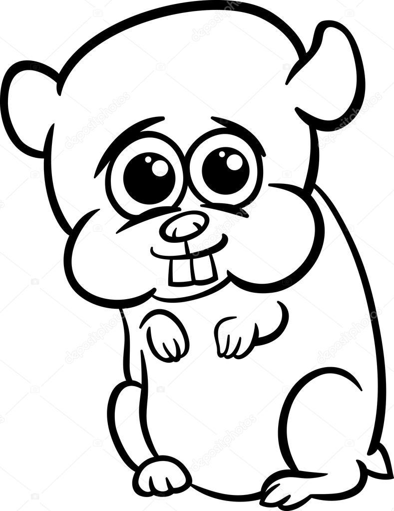Bebek Hamster çizgi Film Boyama Sayfası Stok Vektör Izakowski
