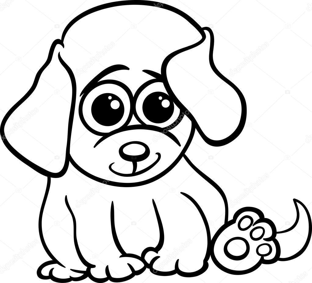 Página para colorear de bebé cachorro dibujos animados — Vector de ...