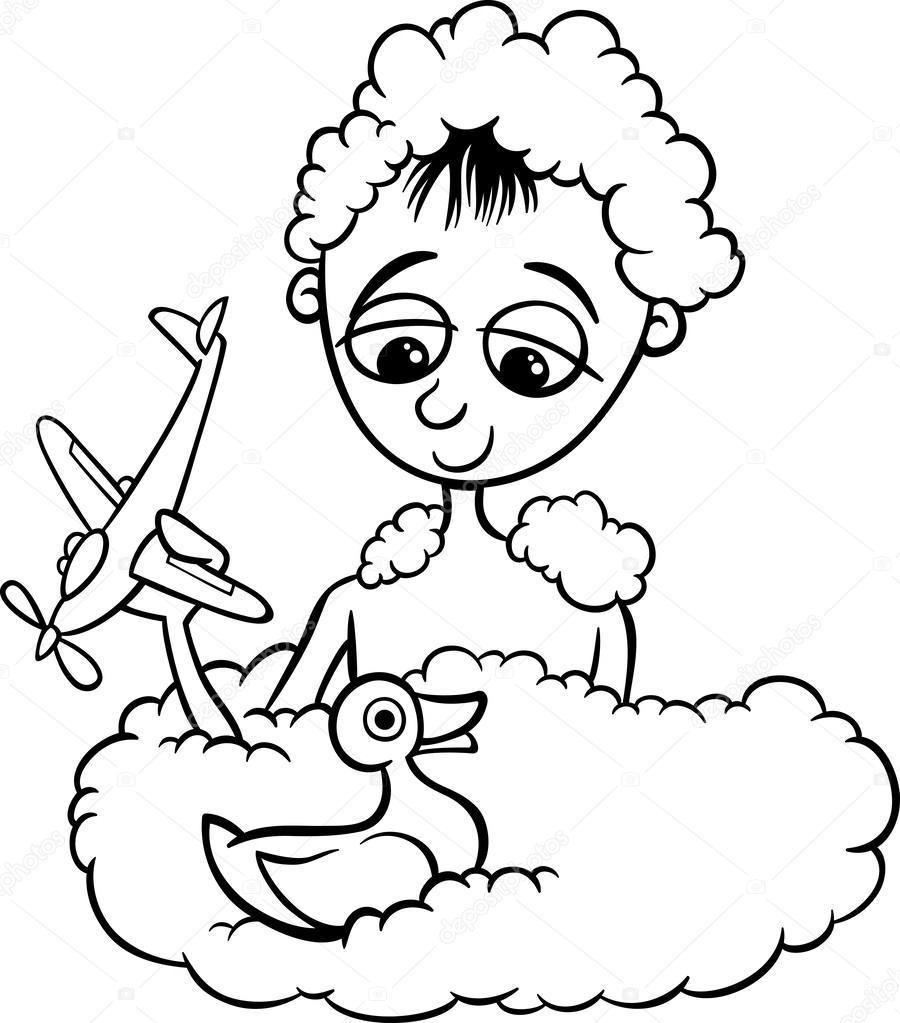 Sevimli Küçük çocuk Banyo Boyama Sayfası Stok Vektör Izakowski