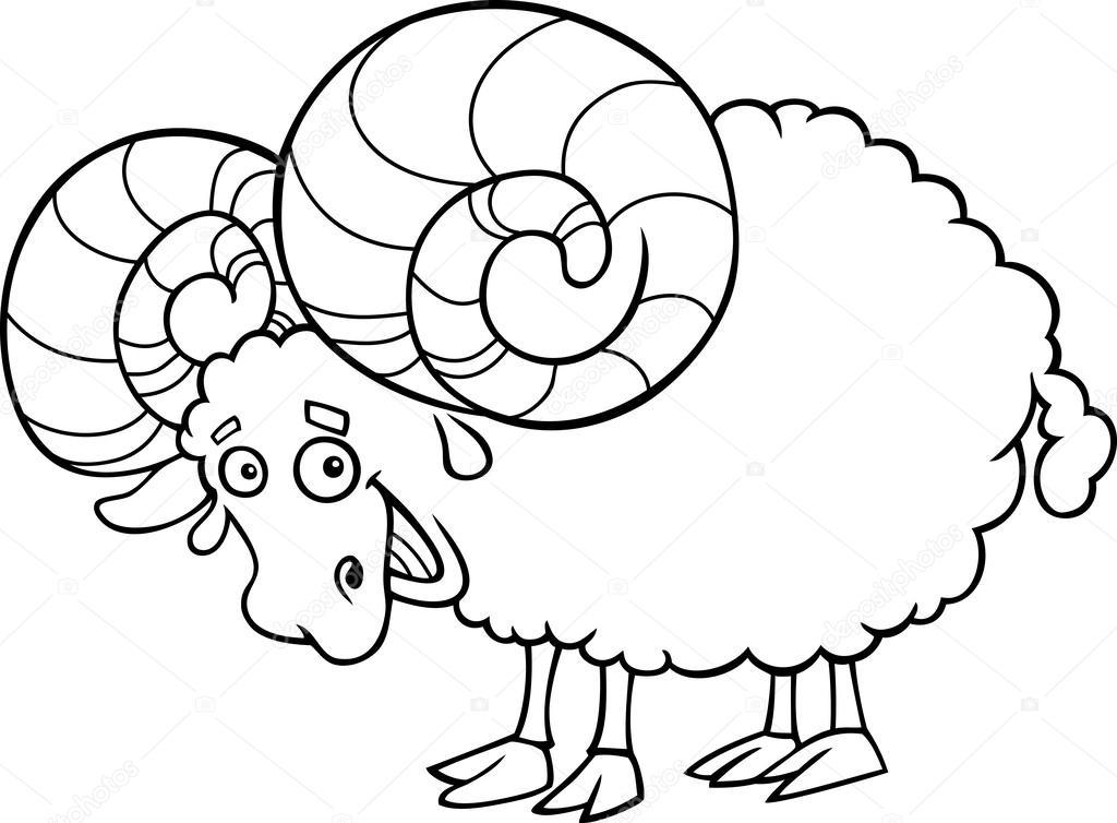 zodiaque b u00e9lier ou ram coloriage  u2014 image vectorielle