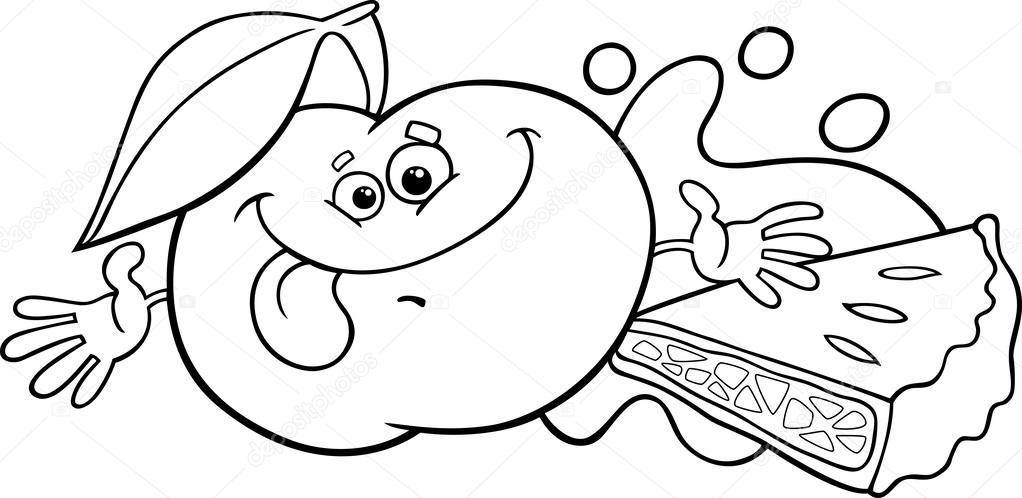Elma Ve Pasta çizgi Film Boyama Sayfası Stok Vektör Izakowski