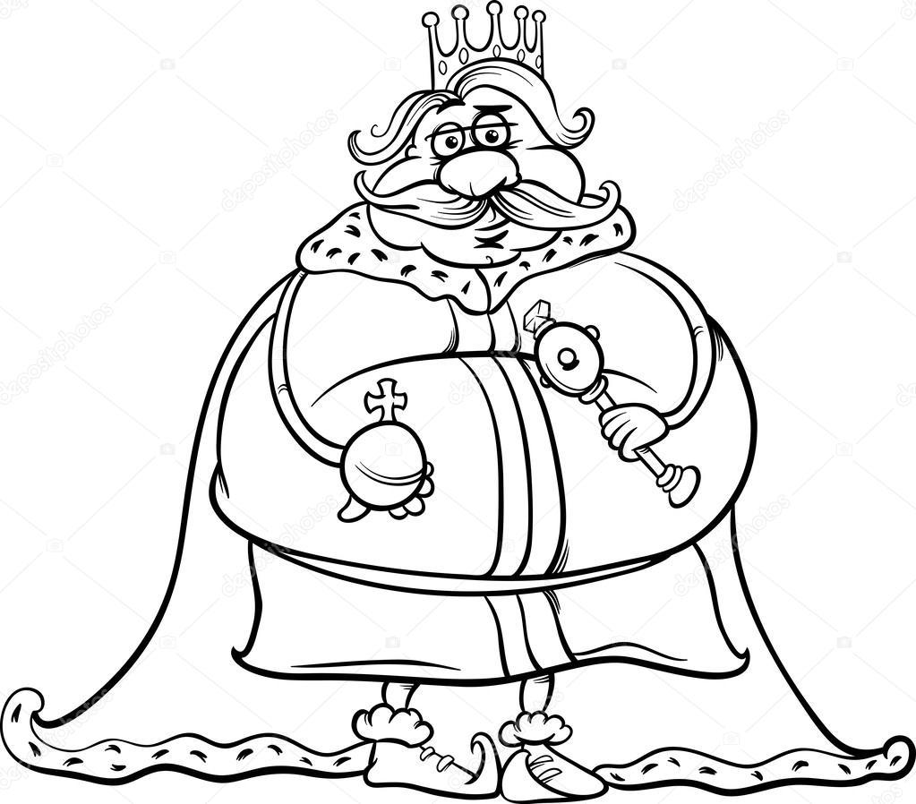 Animado Un Señor Gordo Rey Gordo Página Para Colorear De Dibujos