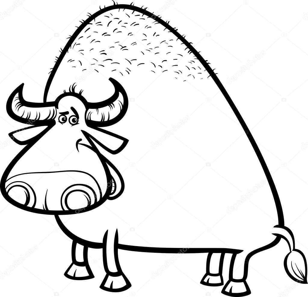 Página para colorear de dibujos animados de Toro o búfalo — Archivo ...